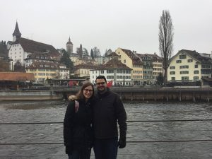 Chris Dobbs and his wife pose on the waterfront in Lucerne, Switzerland.